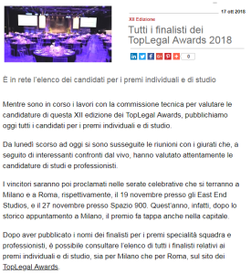 top legal awards professionisti